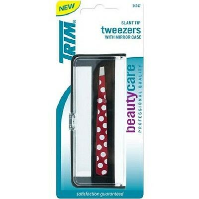 TRIM Slant Tip Tweezers With Mirror Case NEW SEALED