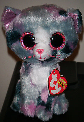 "Ty Beanie Boos ~ LINDI the 6"" Cat Stuffed Plush Toy (Brand New) 2016 Design"