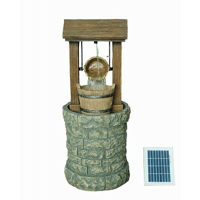 Solar Powered Wishing Well Garden Patio Water Feature with Battery Back Up