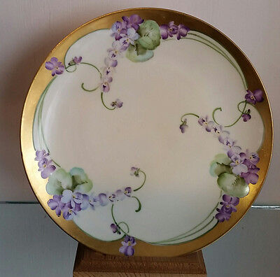 Pickard Hand Painted Violets Gold Lined Plate Circa 1912