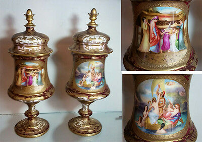 Very Fine Royal Vienna Artist Signed Covered Lidded Urns Vases Circa 1830