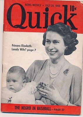 Quick Magazine July 1950 Negro in Baseball Robinson Newcombe Campanella Jethroe