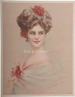 Artist-Signed 1910 Victorian Color Litho Print: Woman & Hair - Chromolithograph