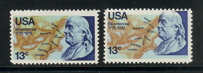 US 1690 normal stp & stp w/color shift - mnh 13 cts Franklin Bicentennial EFO