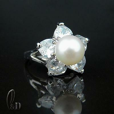 AU SELLER Chic Gorgeous White Genuine pearls Ring 09053-1