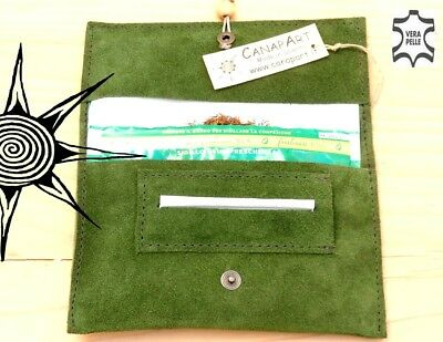 Rolling Tobacco Pouch Leather porta tabacco made in Italy! Suede green