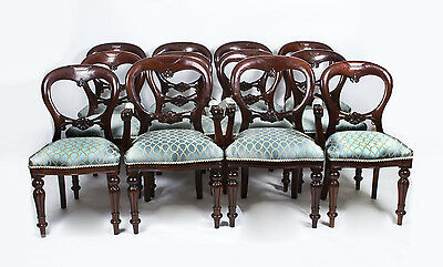 Vintage Victorian Style Balloon Back Dining Chairs Set of 12