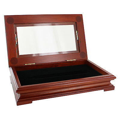 Rosewood Woodtone Glass Top Single Pen Display Show Case