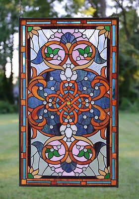 "20.5""W x 34.75""H Tiffany Style Jeweled stained glass window panel."
