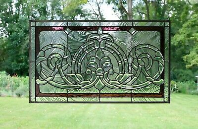"""Handcrafted stained glass Clear Beveled window panel 34.75""""W x 20.5""""H"""