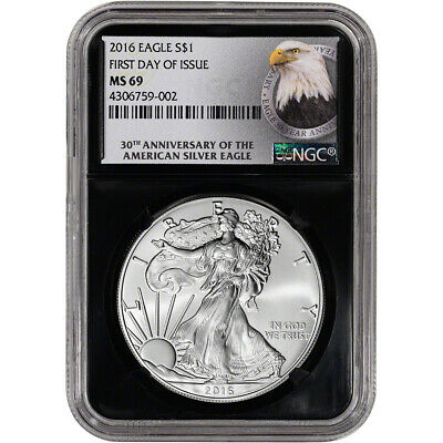 2016 American Silver Eagle - NGC MS69 - First Day of Issue - 30th Ann - Retro