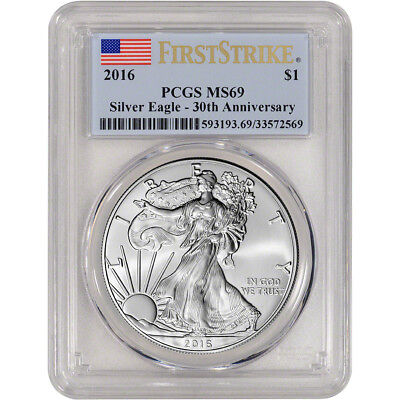 2016 American Silver Eagle - PCGS MS69 - First Strike - 30th Anniversary