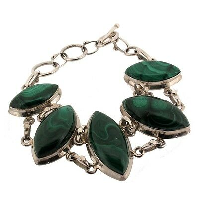 Green Malachite Sterling Silver Bracelet Adjustable Toggle Clasp Gemstone