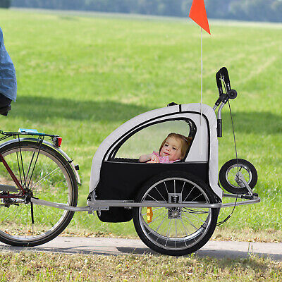 3 in 1 Double Child Baby Bike Trailer Folding Kids Stroller Jogger Bicycle