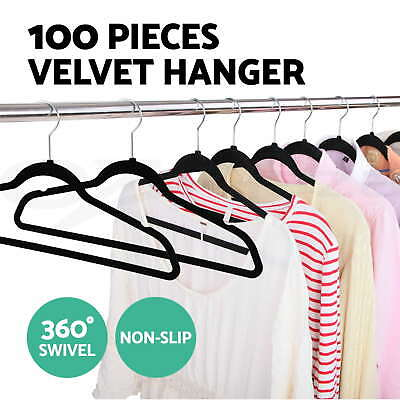 Coat Hangers Flock Velvet Nonslip Coat Clothes Closet Slim Thin 100