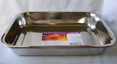 """NEW STAINLESS STEEL ROASTING BAKING TRAY OVEN TIN 36cm 14"""" PRIMA"""