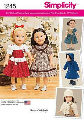 SIMPLICITY SEWING PATTERN VINTAGE 1940s 18 INCH DOLL CLOTHES 1245 A