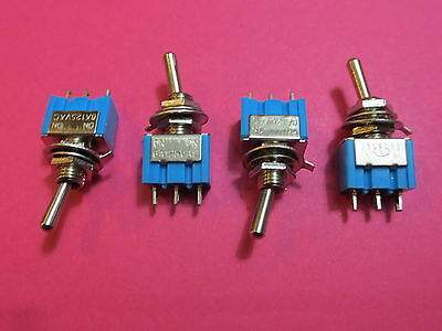 LOT de 4 INTERRUPTEURS à BASCULE 2 POSITION ON/ON AC 125V 6A 3 broches SPDT NEUF