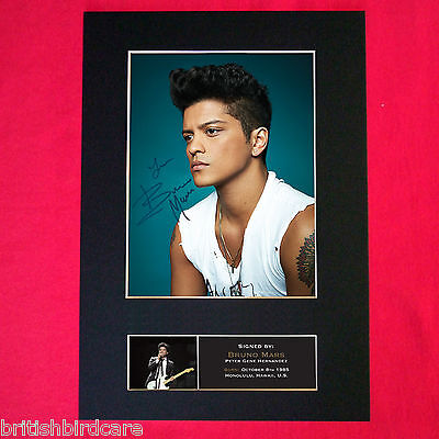 BRUNO MARS No2 Autograph Mounted Photo REPRO QUALITY PRINT A4 427