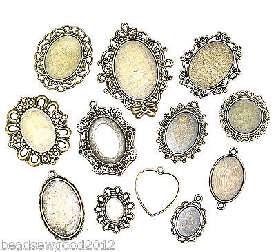 ANTIQUE BRONZE TONE CABOCHON SETTINGS Pack of 10 assorted Bezels Tray Pendants