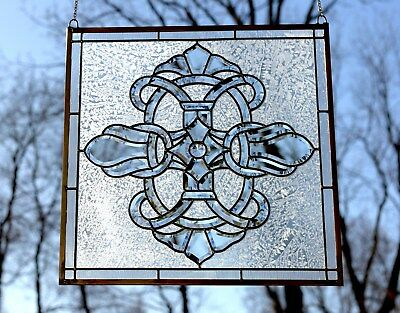 "Handcrafted stained glass Clear Beveled window panel 24"" x 24"""
