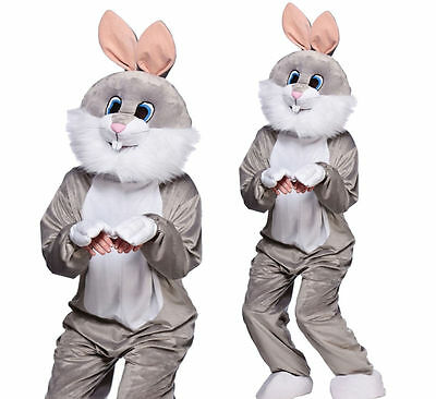 Grey Easter Bunny Rabbit Costume Adults Mascot Outfit Novelty Fancy Dress