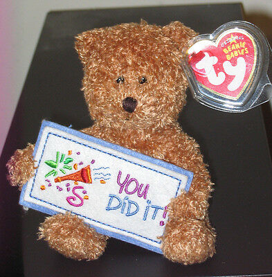 Ty Beanie Baby ~ YOU DID IT the Bear ~ Greetings Collection~ MINT ~ RETIRED