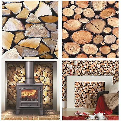 Realistic Natural Effect Chopped Or Stacked Logs Wallpaper Feature Wall Decor