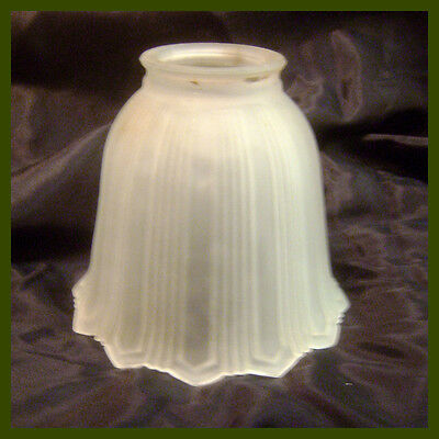 """5"""" Victorian Frosted Glass Light Fixture Shade 2"""" Mount Ring ~ Bell Shape Ribbed"""