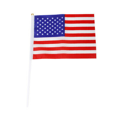 Lot 12Pcs American USA US Hand Waving Flag Mini Banner with Plastic poles