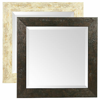 Large Wall Glass Square Mirror 50 x 50 cm Mountable Wood Effect Bathroom Hallway