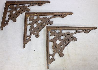 "3 old Shelf brackets 5 X 7"" Eastlake flower rustic texture iron vintage supports"