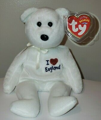 Ty Beanie Baby ~ I LOVE ENGLAND the Bear ~ UK Exclusive ~ MINT with MINT TAGS