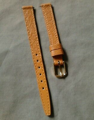 Vintage NOS 3/8 10mm Tan Flat Stitched Pigskin Watch Band W/Gold-Tone Buckle
