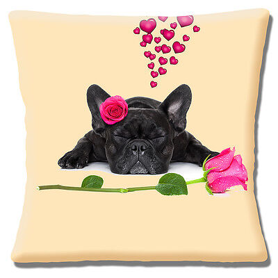 Cute French Bulldog Cushion Cover 16x16 inch 40cm Black Dog Pink Hearts and Rose