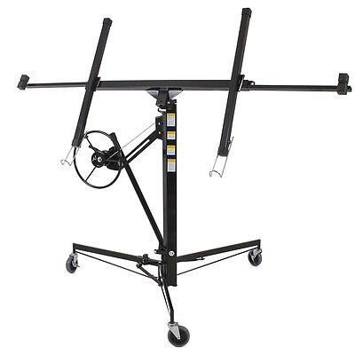 Drywall Lift 11' 15' Lift Panel Hoist Dry Wall Jack Lifter Construction -Black