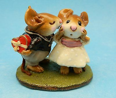 Wee Forest Folk FIRST KISS, M-192, Retired Mouse, Cream Dress