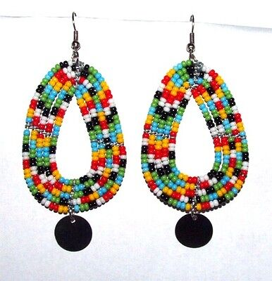 "Traditional South African Beaded Teardrop Earrings Disk 2.25"" FREE SHIPPING T08"