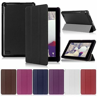 For Amazon Fire 7 (2015 & New 2017) Slim Leather Folding Case Smart Stand Cover