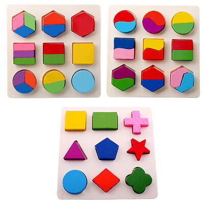 Kids Baby Wooden Geometry Puzzle Montessori Early Learning Educational Toy HOT