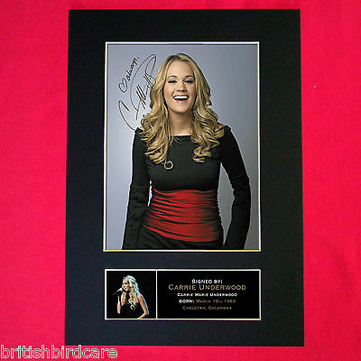 CARRIE UNDERWOOD Autograph Mounted Photo REPRO QUALITY PRINT A4 260