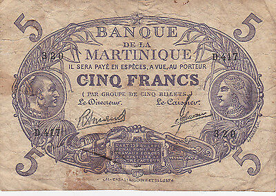 1901 Banque de la MARTINIQUE  Cinq Francs 5 France Currency Note