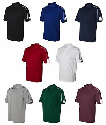 Adidas Men's Climalite Golf Polo NEW Three Stripes Sport Shirts Sizes S-3XL A76
