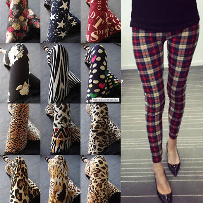 Latest Popular 88 Patterns Funky Checks Flower Prints Women Tight Leggings Pants