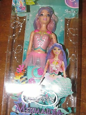 2005 Mattel Barbie Fairytopia Mermaidia Shella Color Change Hair Body Art NEW