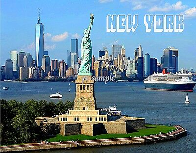 New York - SKYLINE with STATUE OF LIBERTY AND FREEDOM TOWER -  Fridge MAGNET
