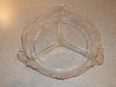 Heisey Glass Rose Etching 3 Part Round Relish 8""
