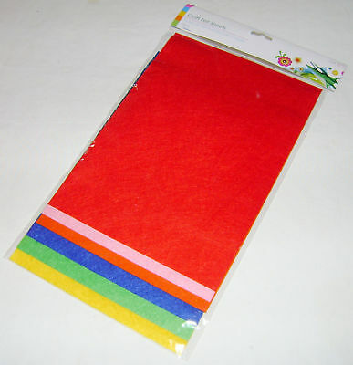 New 6 Sheets A4 Craft Felt Sheets Red Pink Orange Blue Green Yellow Sil Sale