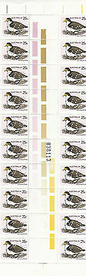 Stamps Australia 1978 Plover Bird with VG perfin in gutter strip of 20, MUH