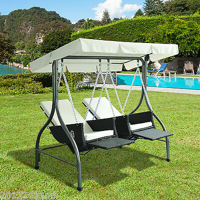 Outsunny Garden Rattan Swing Chair 2 Separated Seater Hammock w/ Canopy Cushions